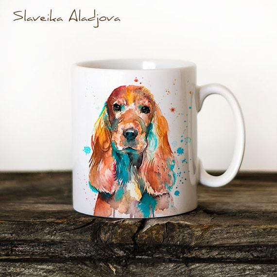 English Cocker Spaniel Mug Watercolor Ceramic Mug Unique Gift Coffee Mug Animal Mug Tea Cup Art Illustration Cool Kitchen Art Printed