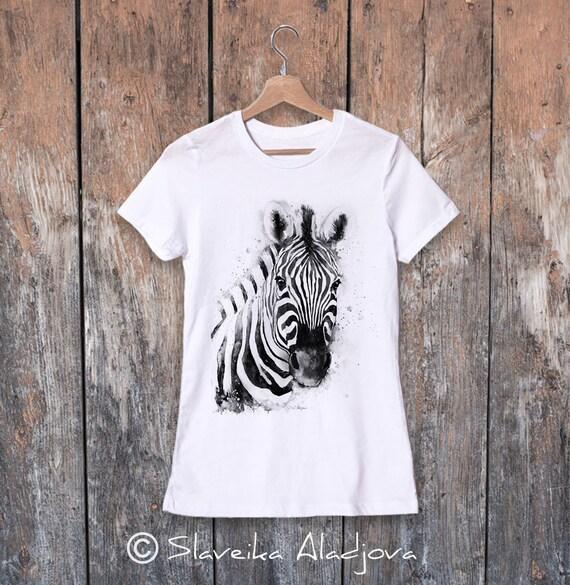 Zebra watercolor ladies' T-shirt, women's tees, Teen Clothing, Girls' Clothing, ring spun Cotton 100%, watercolor print T-shirt, art
