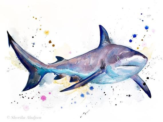 Original Watercolour Painting- Grey reef shark art, animal, illustration, animal watercolor, animals paintings, animals, portrait,