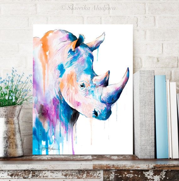 Rhino Blue watercolor painting print by Slaveika Aladjova, art, animal, illustration, home decor, Nursery, gift, Wildlife, wall art