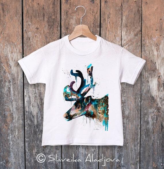 Reindeer watercolor kids T-shirt, Boys' Clothing, Girls' Clothing, ring spun Cotton 100%, watercolor print T-shirt,T shirt art