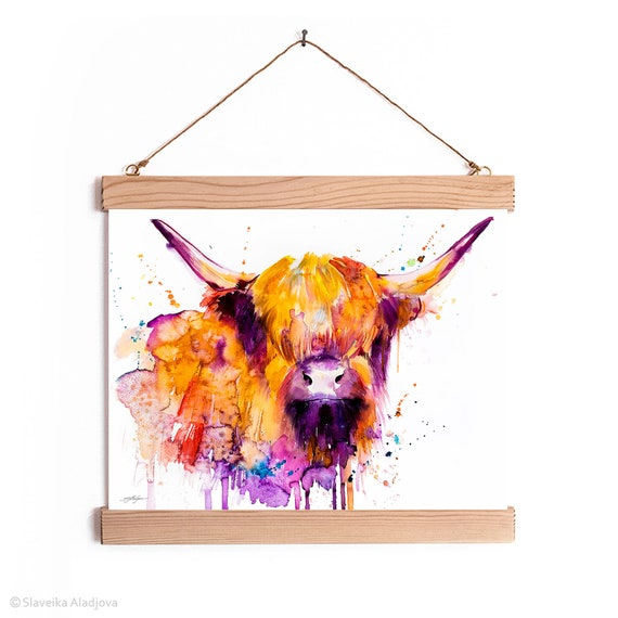 Highland Cow Watercolor Painting Framed, Wall Hanging print, Animal, Home Decor, Wall Art, Illustration, Ready to Hang,