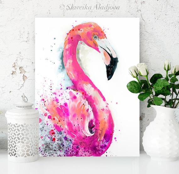 Pink Flamingo watercolor painting print by Slaveika Aladjova, art, animal, illustration, bird, home decor, wall art, gift, Wildlife
