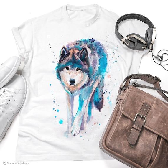 Wolf watercolor ladies' T-shirt, women's tees, Teen Clothing, Girls' Clothing, ring spun Cotton 100%, watercolor print