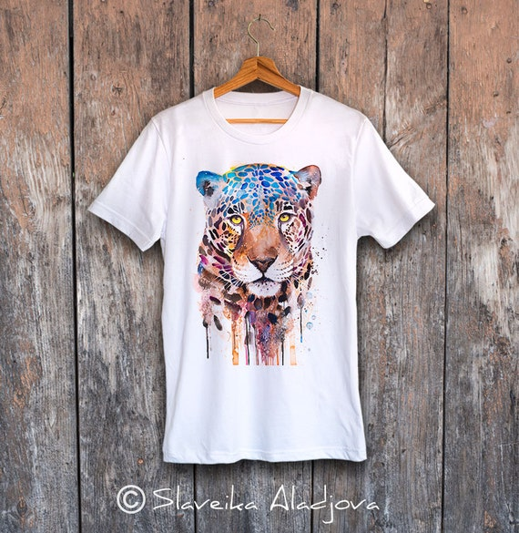 Jaguar T-shirt, Panther unisex T-shirt, Unisex tees, Big cats Lover Gift, watercolor print tee, ring spun Cotton 100%, Colourful print