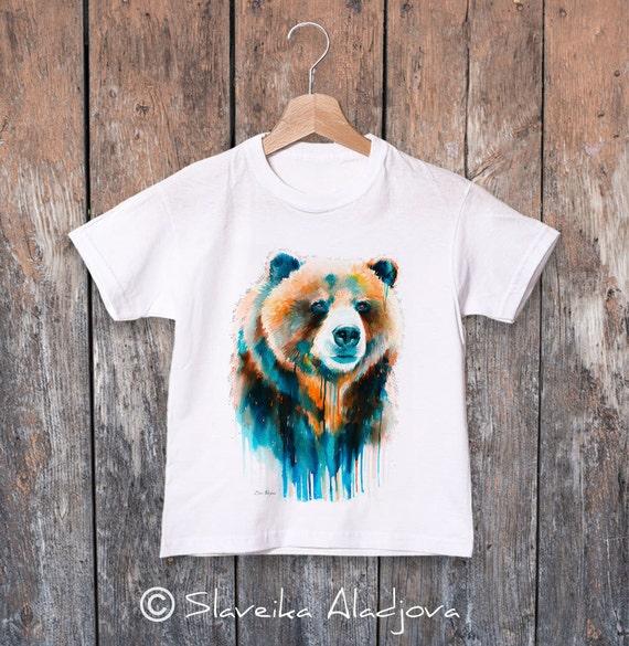 Grizzly bear watercolor kids T-shirt, Boys' Clothing, Girls' Clothing, ring spun Cotton 100%, watercolor print T-shirt, T shirt art