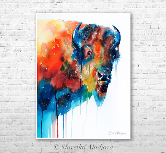 Bison watercolor  painting print by Slaveika Aladjova, art, animal, illustration, home decor, wall art, gift, portrait, Contemporary