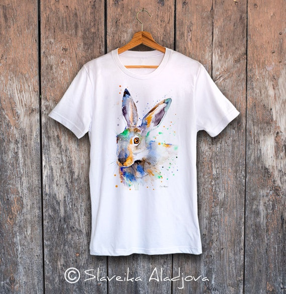 Jackrabbit T-shirt, Unisex T-shirt, ring spun Cotton 100%, watercolor T-shirt, T shirt art, T shirt animal, XS, S, M, L, XL, XXL