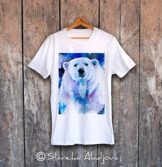 Polar bear 2 T-shirt, Unisex T-shirt, ring spun Cotton 100%, watercolor print T-shirt, T shirt art, T shirt animal, XS, S, M, L, XL, XXL