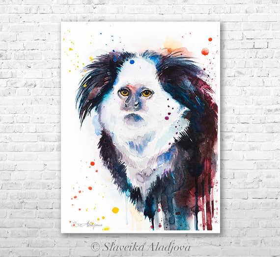 White-headed marmoset watercolor painting print by Slaveika Aladjova, art, animal, illustration, home decor, Nursery, gift, Wildlife, monkey