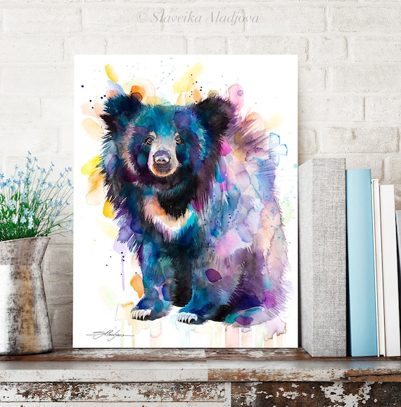 Sloth bear watercolor painting print by Slaveika Aladjova, art, animal, illustration, home decor, Nursery, gift, Wildlife,
