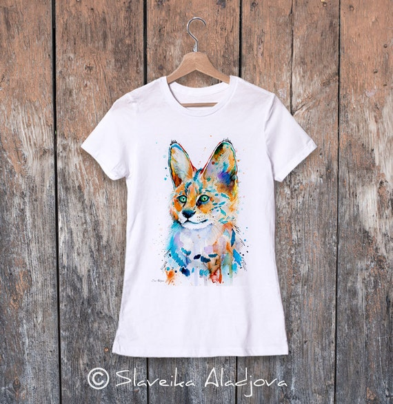Serval watercolor ladies' T-shirt, women's tees, Teen Clothing, Girls' Clothing, ring spun Cotton 100%, watercolor print