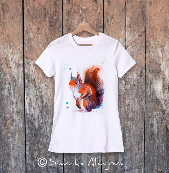 Red squirrel watercolor ladies' T-shirt, women's tees, Teen Clothing, Girls' Clothing, ring spun Cotton 100%, watercolor print
