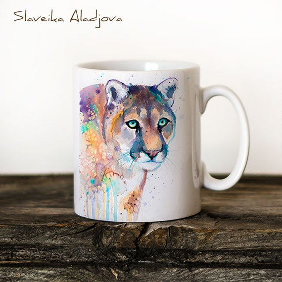 Puma Mug Watercolor Ceramic Mug Unique Gift Coffee Mug Animal Mug Tea Cup Art Illustration Cool Kitchen Art Printed