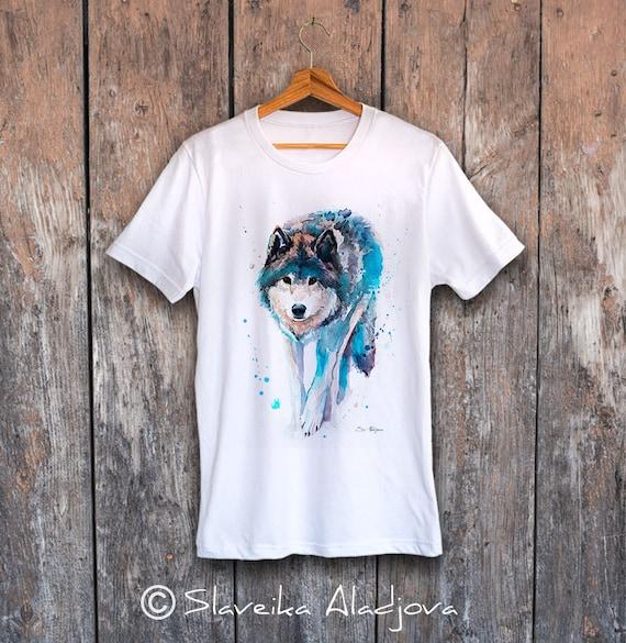 Wolf T-shirt, Unisex T-shirt, ring spun Cotton 100%, watercolor print T-shirt, T shirt art, T shirt animal, XS, S, M, L, XL, XXL