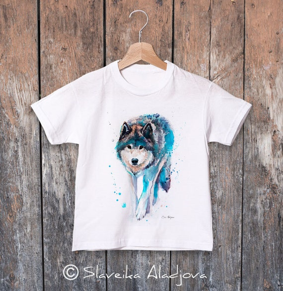 Wolf watercolor kids T-shirt, Boys' Clothing, Girls' Clothing, ring spun Cotton 100%, watercolor print T-shirt, T shirt art