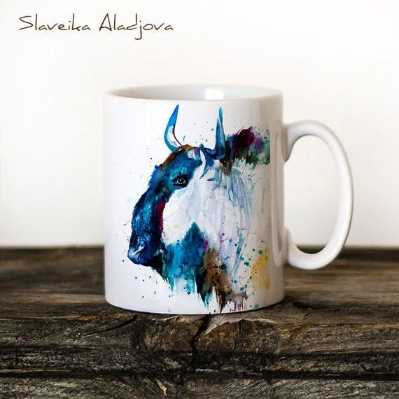 Gnu Mug Watercolor Ceramic Mug Unique Gift Coffee Mug Animal Mug Tea Cup Art Illustration Cool Kitchen Art Printed mug