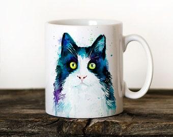 Cat Mug Watercolor Ceramic Mug Elephant Unique Gift Coffee Mug Animal Mug Tea Cup Art Illustration Cool Kitchen Art Printed mug