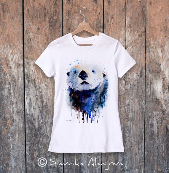 Sea Otter watercolor ladies' T-shirt, women's tees, Teen Clothing, Girls' Clothing, ring spun Cotton 100%, watercolor print