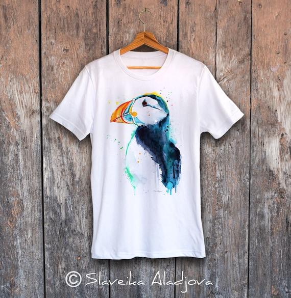 Puffin T-shirt, Unisex T-shirt, ring spun Cotton 100%, watercolor print T-shirt, T shirt art, T shirt animal, XS, S, M, L, XL, XXL
