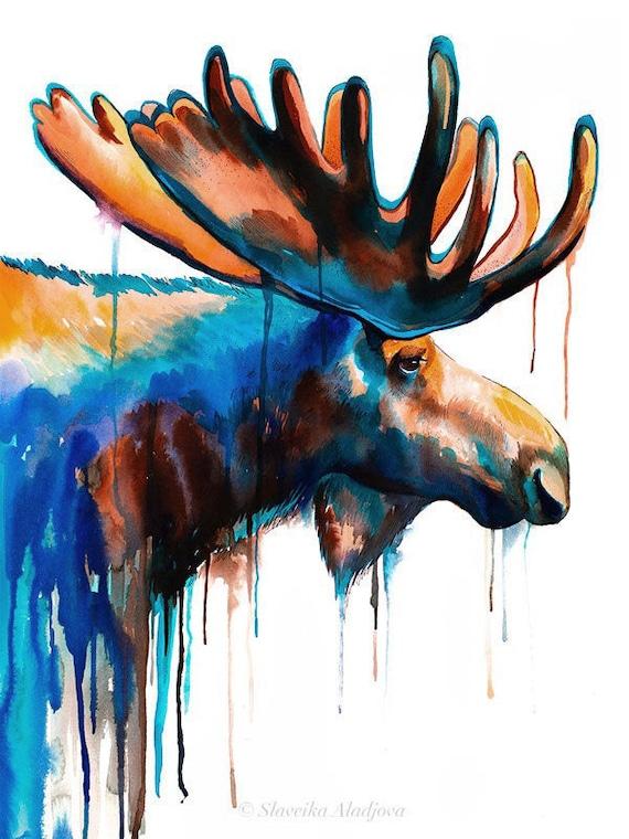 Original Watercolour Painting- Moose art, animal, illustration, animal watercolor, animals paintings, animals, portrait,