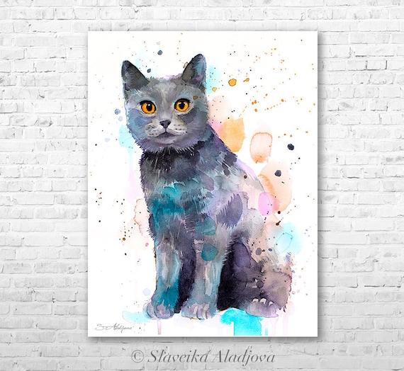 Chartreux watercolor painting print by Slaveika Aladjova, art, animal, illustration, home decor, Nursery, gift, Wildlife, wall art, cat art