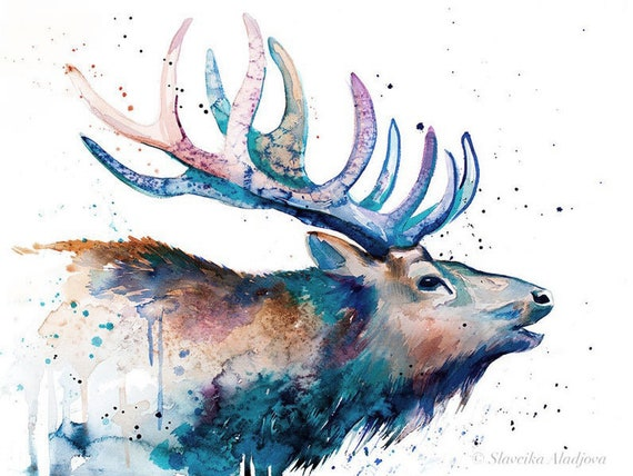 Original Watercolour Painting- Red deer art, animal, illustration, animal watercolor, animals paintings, animals, portrait,