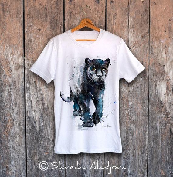 Black Panther T-shirt, Unisex T-shirt, ring spun Cotton 100%, watercolor print T-shirt, T shirt art, T shirt animal, XS, S, M, L, XL, XXL