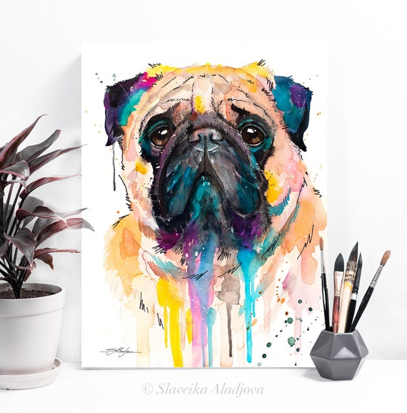 Pug watercolor painting print by Slaveika Aladjova, art, animal, illustration, home decor, gift, Contemporary, dog art, pet portrait, gift