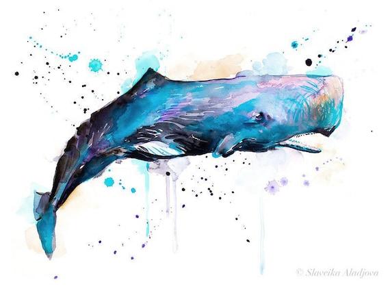 Original Watercolour Painting- Sperm whale art, animal, illustration, animal watercolor, animals paintings, animals, portrait,
