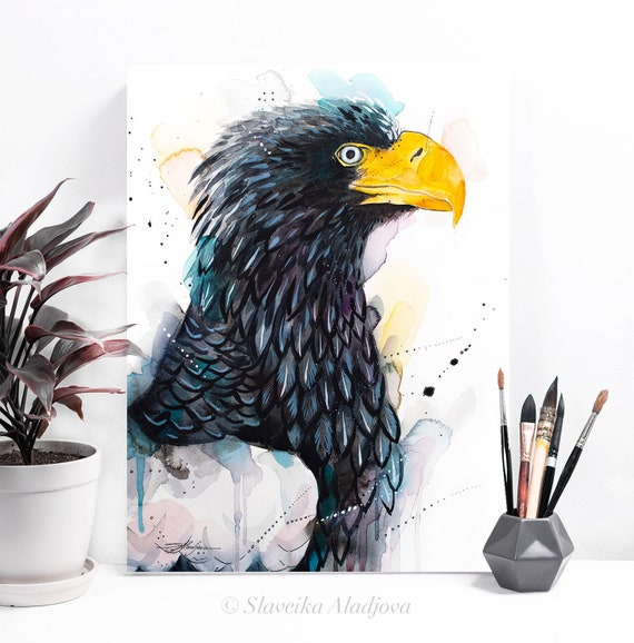 Steller's sea eagle watercolor painting print by Slaveika Aladjova, art, animal, illustration, bird, home decor, wall art, gift,
