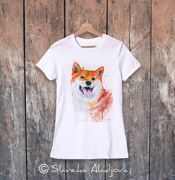 Shiba Inu watercolor ladies' T-shirt, women's tees, Teen Clothing, Girls' Clothing, ring spun Cotton 100%, watercolor print T-shirt, art