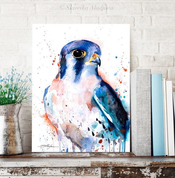 American Kestrel watercolor painting print by Slaveika Aladjova, art, animal, illustration, bird, home decor, wall art, gift, Wildlife