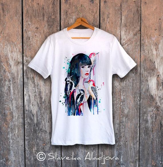 Woodpeckers T-shirt, Unisex T-shirt, ring spun Cotton 100%, watercolor print T-shirt, T shirt art, T shirt animal, XS, S, M, L, XL, XXL