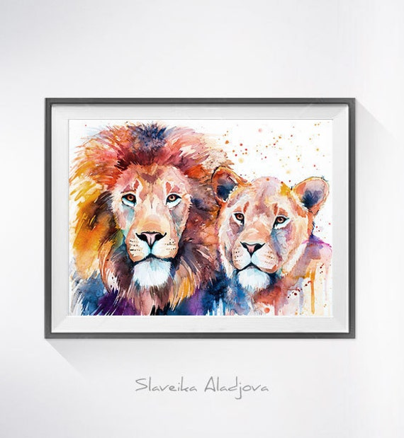 Original Watercolour Painting- Lion Lioness Love art, animal illustration, animal watercolor, animals paintings, animals, portrait,
