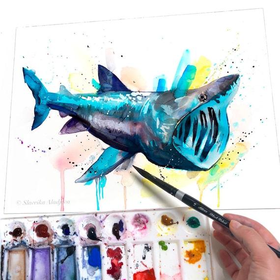 Basking shark watercolor painting print by Slaveika Aladjova, art, animal, illustration, Sea art, sea life art, home decor, Wall art