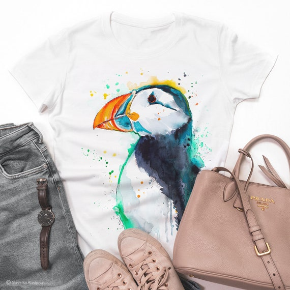 Atlantic puffin T-shirt, Unisex T-shirt, ring spun Cotton 100%, watercolor print T-shirt, T shirt art, T shirt animal,XS, S, M, L, XL, XXL