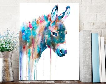 Donkey watercolor painting print by Slaveika Aladjova, animal art, illustration, wall art, home decor, gift, Giclee Print, farm, portrait