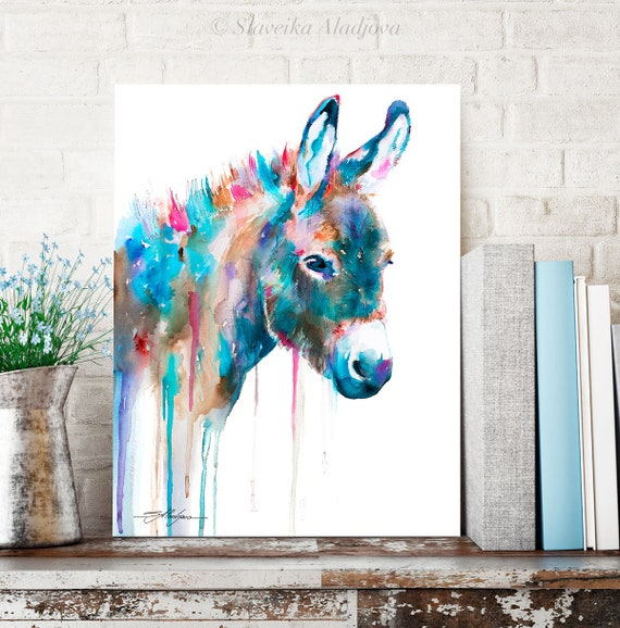 Donkey watercolor painting print by Slaveika Aladjova, animal art, illustration, wall art, home decor, gift, Giclee Print, farm, portrait