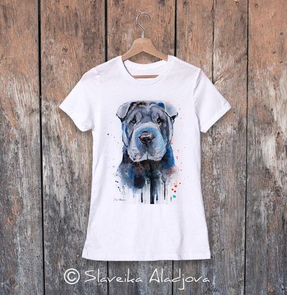 Shar Pei watercolor ladies' T-shirt, women's tees, Teen Clothing, Girls' Clothing, ring spun Cotton 100%, watercolor print T-shirt, art