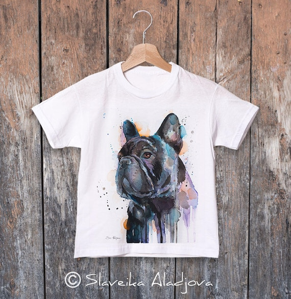 Frenchie watercolor kids T-shirt, Boys' Clothing,Girls' Clothing, ring spun Cotton 100%, watercolor print T-shirt,T shirt art