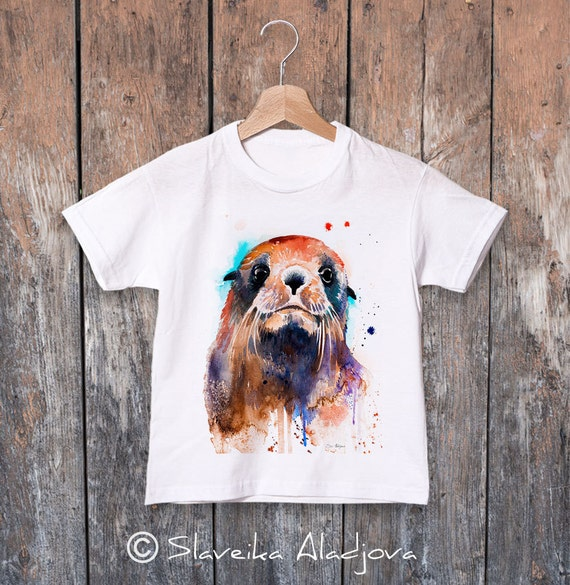Fur seal watercolor kids T-shirt, Boys' Clothing, Girls' Clothing, ring spun Cotton 100%, watercolor print T-shirt,T shirt art