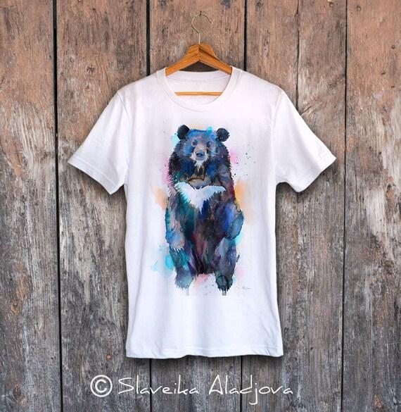 Asian black bear, Moon Bear T-shirt, Unisex T-shirt, ring spun Cotton 100%, watercolor print T-shirt, T shirt art, T shirt animal,