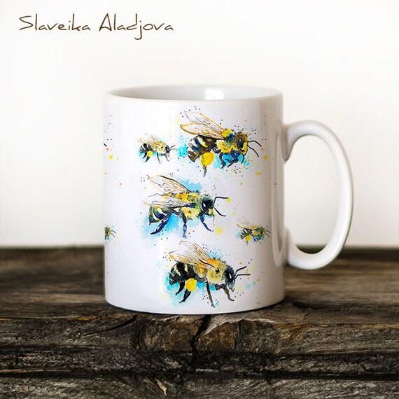 Bees 2 Mug Watercolor Ceramic Mug Unique Gift Coffee Mug Animal Mug Tea Cup Art Illustration Cool Kitchen Art Printed mug