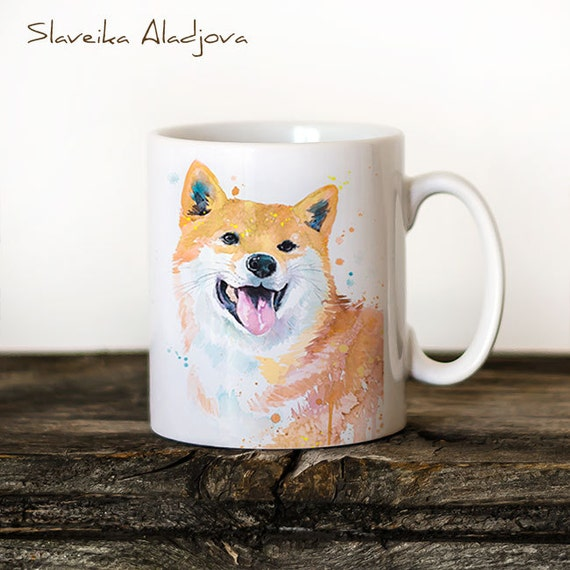 Shiba Inu 3 Mug Watercolor Ceramic Mug Unique Gift Coffee Mug Animal Mug Tea Cup Art Illustration Cool Kitchen Art Printed