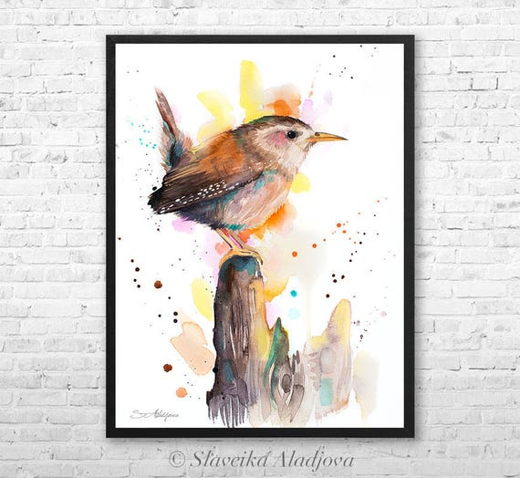 Wren watercolor framed canvas by Slaveika Aladjova, Limited edition, art, animal watercolor, animal illustration,bird art