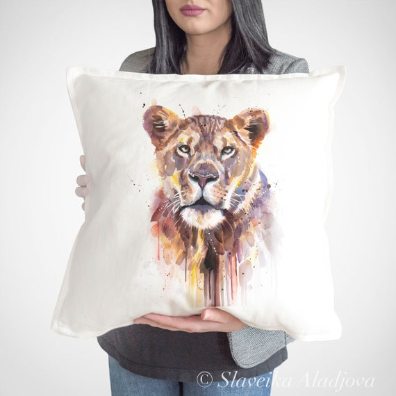 African Lioness throw pillow cover by Slaveika Aladjova, cushion cover, Decorative Pillow Cover, Animal, Watercolor pillow, Christmas gift