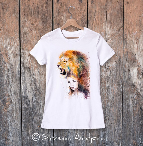 Lion T-shirt, women's tees, Teen Clothing, Girls' Clothing, ring spun Cotton 100%, watercolor print, Watercolor ladies' T-shirt, art