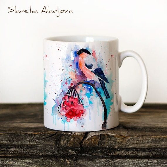 Bullfinch Mug Watercolor Ceramic Mug Unique Gift Coffee Mug Animal Mug Tea Cup Art Illustration Cool Kitchen Art Printed