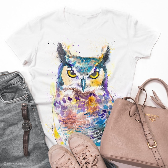Horned Owl T-shirt, ladies' T-shirt, women's tees, Bird Lover Gift, Graphic tee, ring spun Cotton 100%, watercolor print